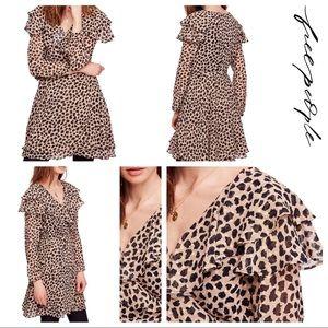 Free People Leopard Print Wrap Dress - Medium